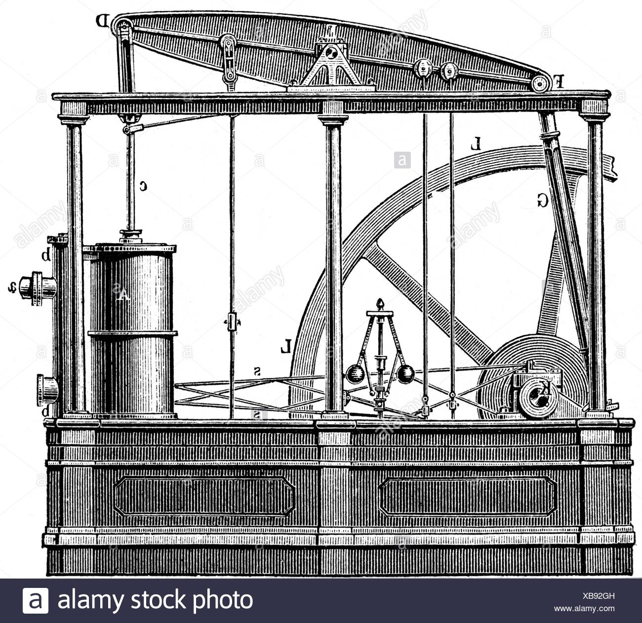 James Watt Steam Engine How It Works Bolier Ketel Uap Stock Photos