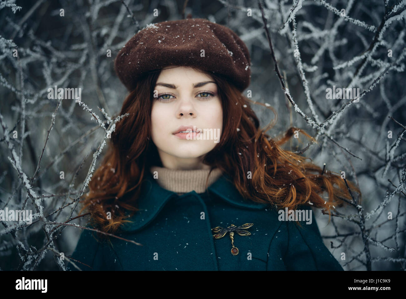 Serious Caucasian woman near icy branches - Stock Image