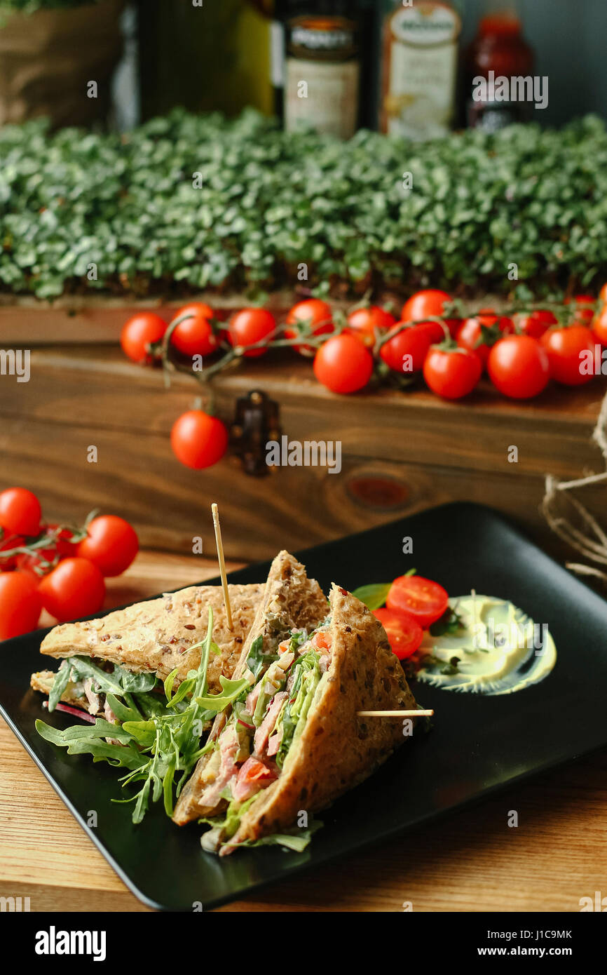 Gourmet sandwich on plate - Stock Image