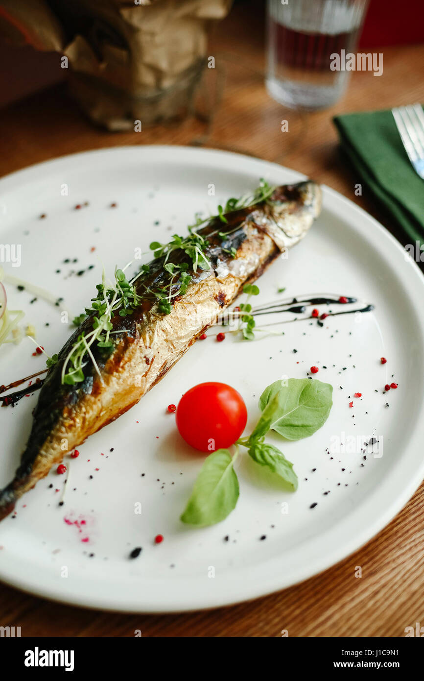 Gourmet fish on plate - Stock Image