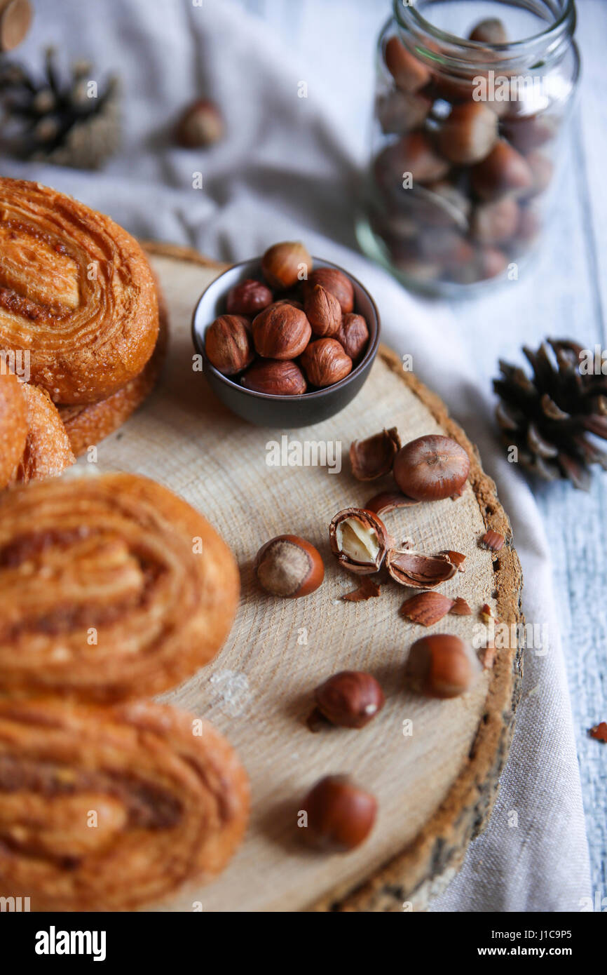 Pastry buns with nuts - Stock Image