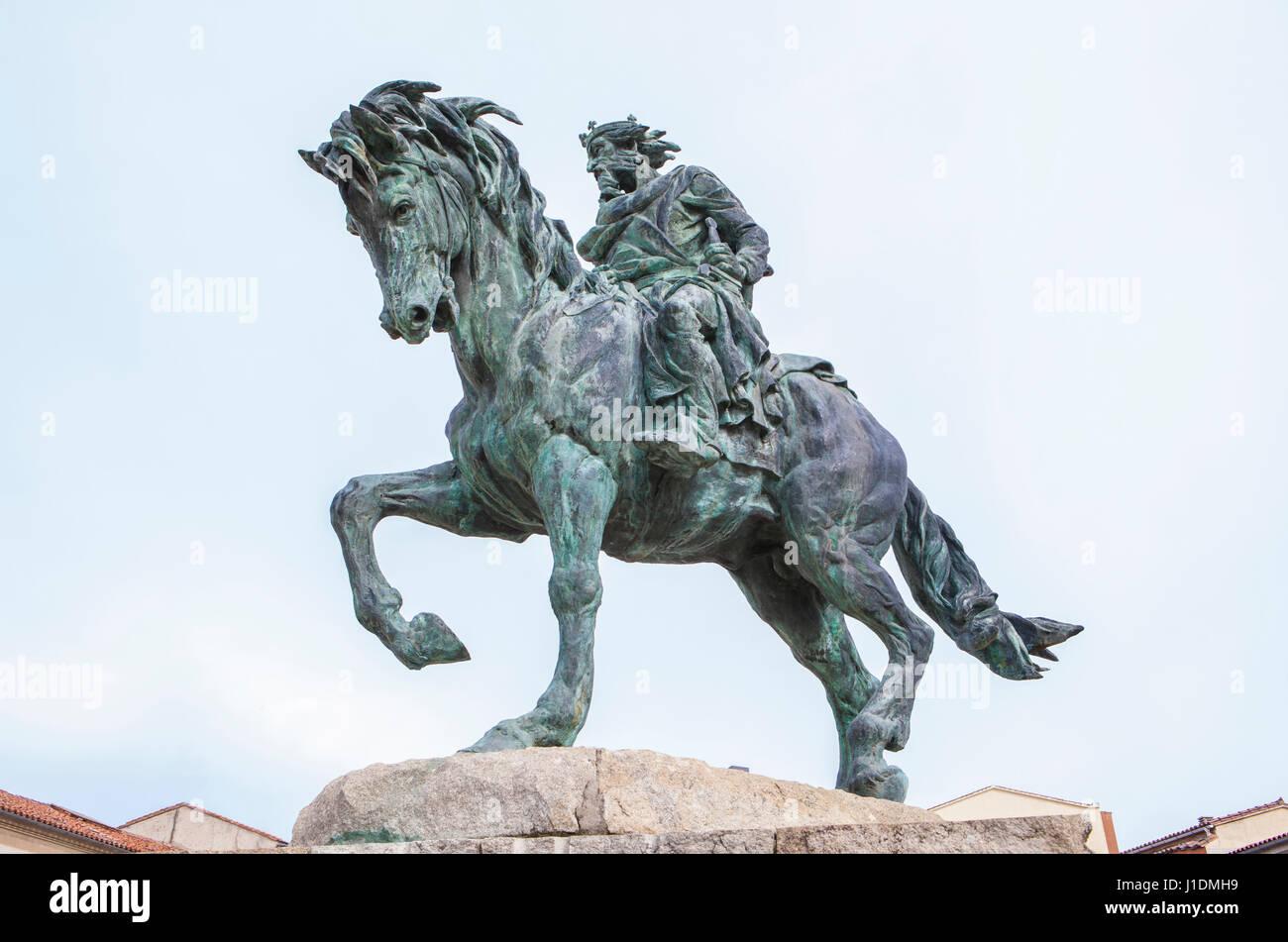 Plasencia, Spain - February 15, 2017: Equestrian Statue of Alfonso VIII of Castile, conqueror of Plasencia to Almohads - Stock Image
