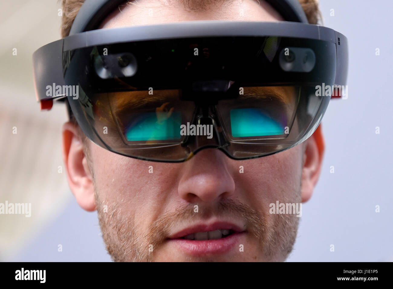London, UK.  20 April 2017.  A user experiences the latest advancements in augmented reality using the Microsoft - Stock Image