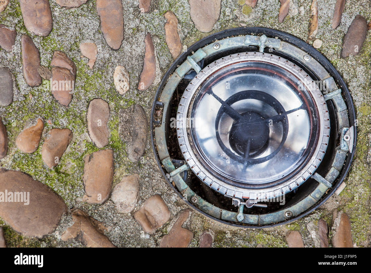 Ground light at Plasencia medieval old town, Caceres, Extremadura, Spain - Stock Image