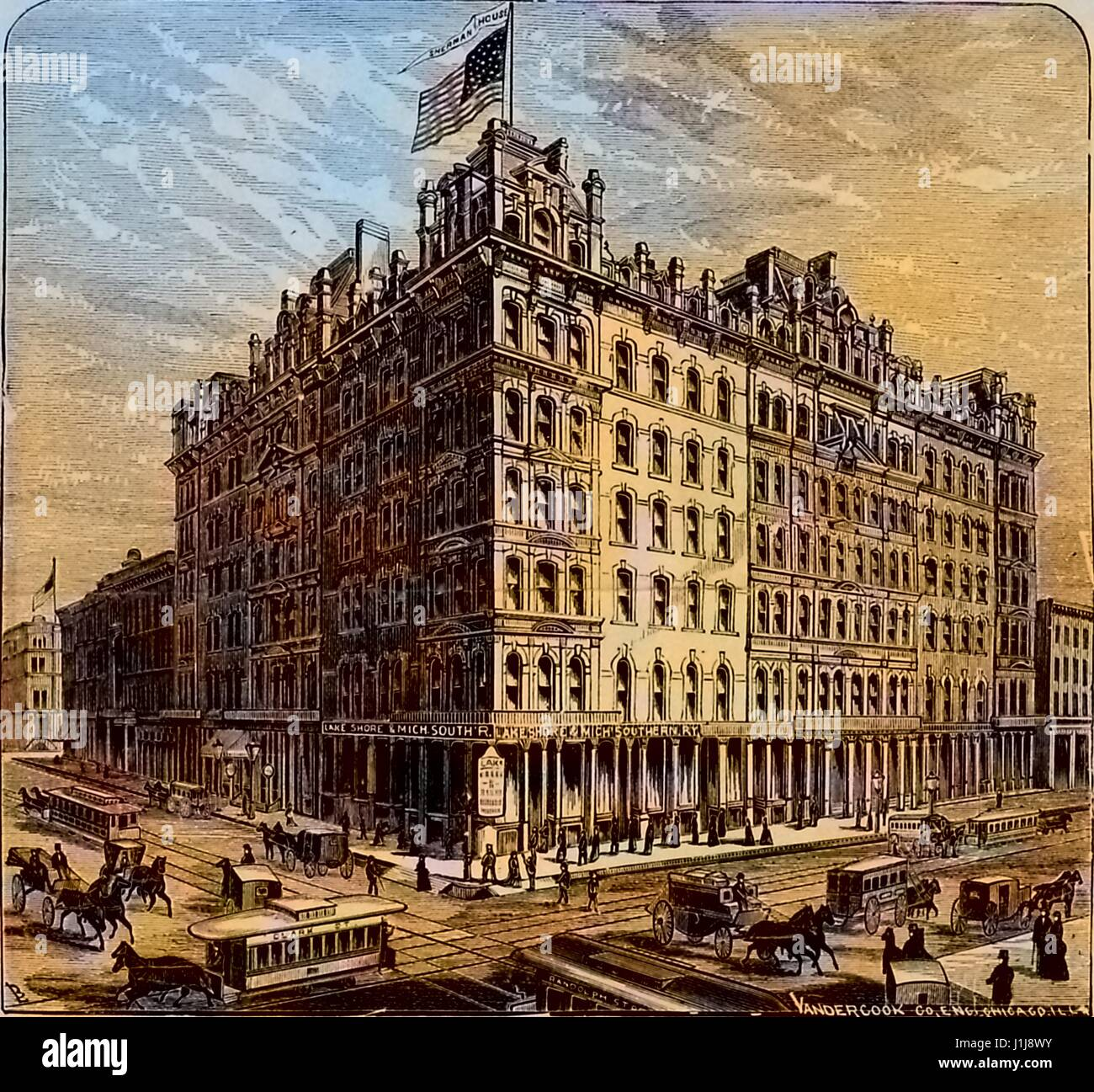 Illustration from an advertisement for the Sherman House Hotel, Chicago, Illinois, 1879. Note: Image has been digitally - Stock Image