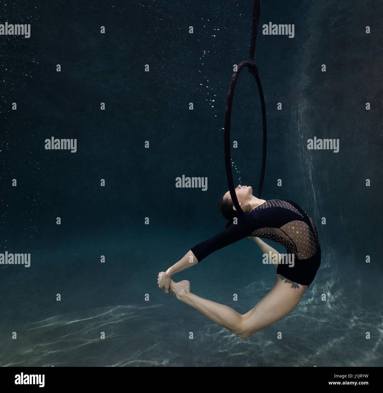 Underwater gymnast - Stock Image