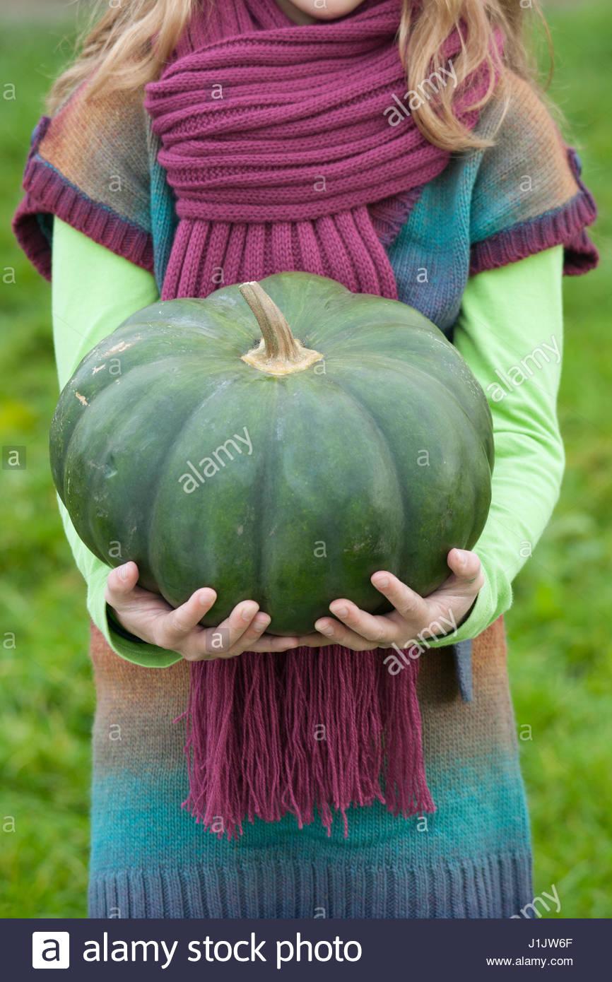 GIRL COLLECTING CUCURBITA (PUMPKINS) IN AUTUMN  PUMPKIN IN HANDS - Stock Image