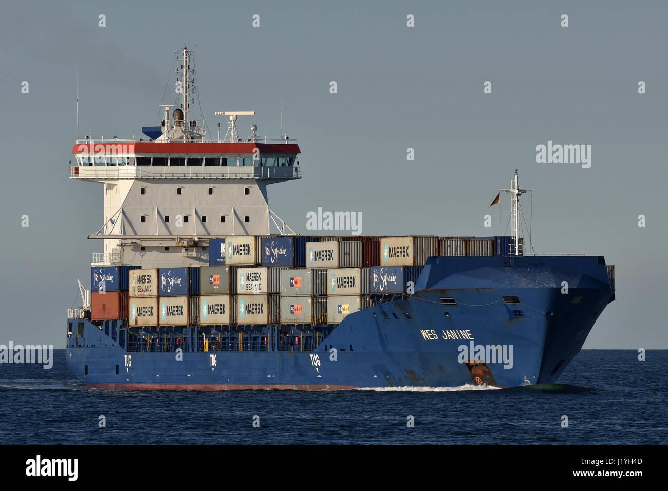 Feedervessel WES Janine inbound for Kiel Canal - Stock Image