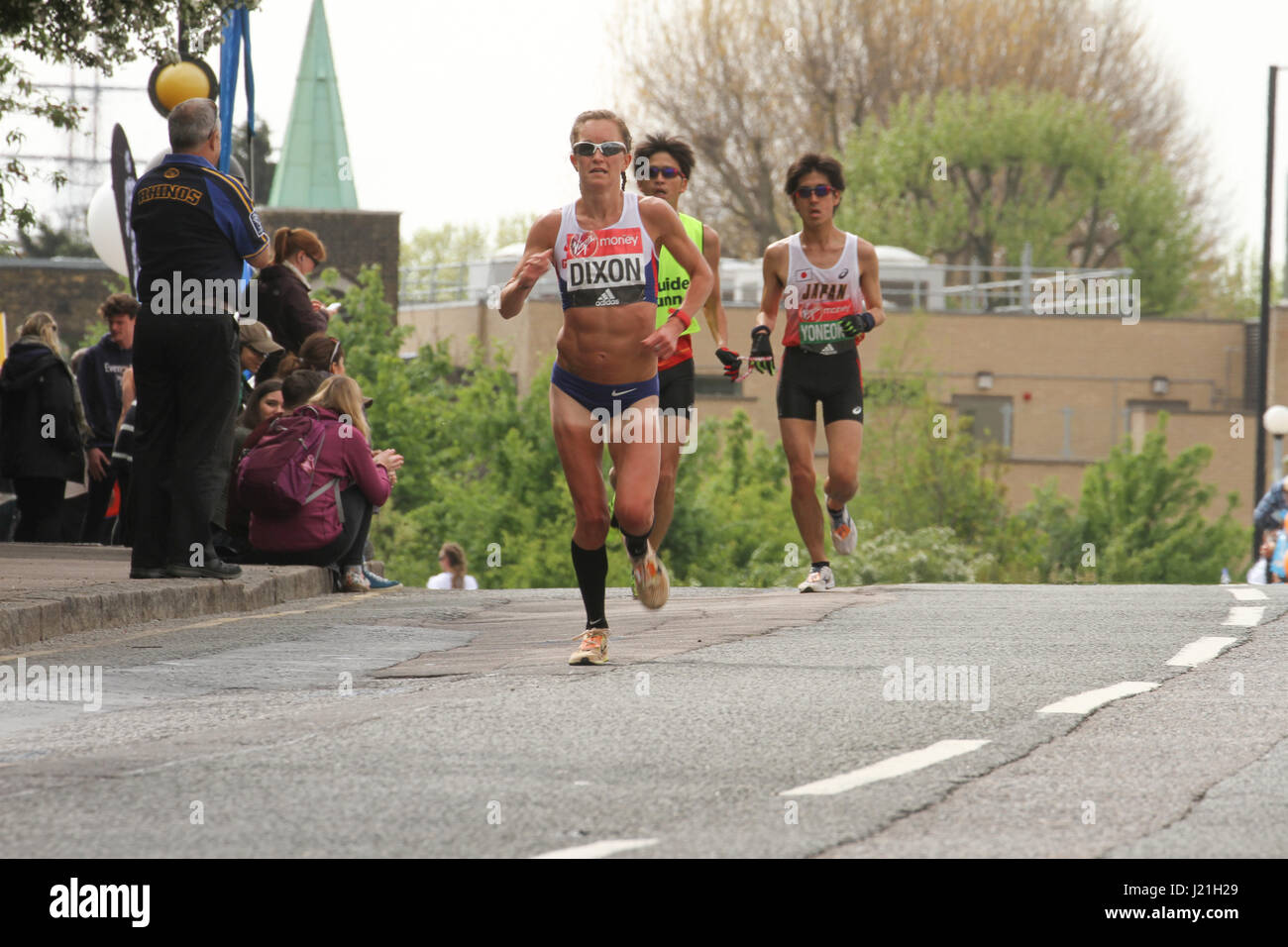 London, UK. 23rd Apr, 2017.  Alyson DIXON first GBR woman to cross the finish line at a02:29:06 race towards the - Stock Image