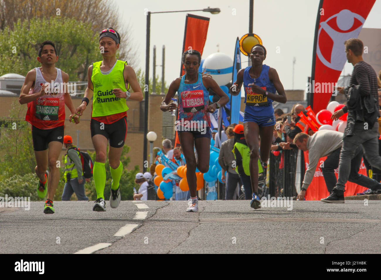 London, UK. 23rd Apr, 2017.  Tirunesh DIBABA (ETH) who came second in the womens run seen with Helah KIPROP (KEN) - Stock Image