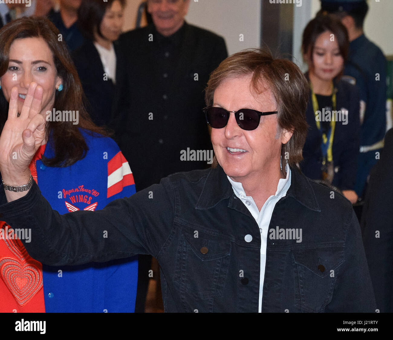 Tokyo, Japan. 23rd Apr, 2017. Paul McCartney, Tokyo, Japan, April 23, 2017 : Sir Paul McCartney arrives at Tokyo - Stock-Bilder
