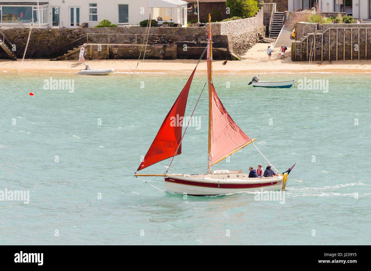A cornish shrimper with red sails sailing along Salcombe estuary - Stock Image
