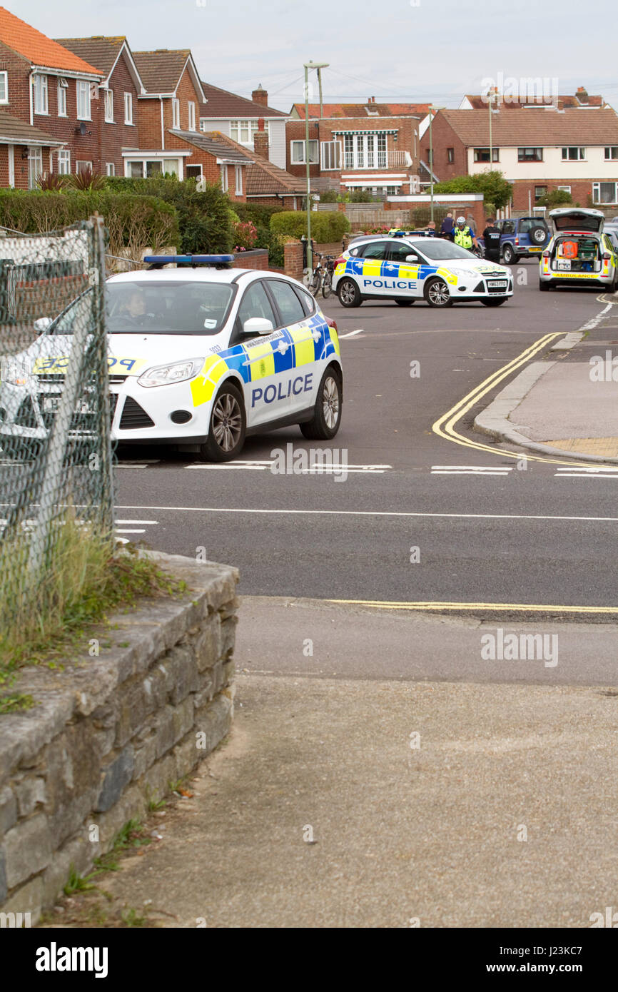 Police cars attending an incident block a suburban road - Stock Image