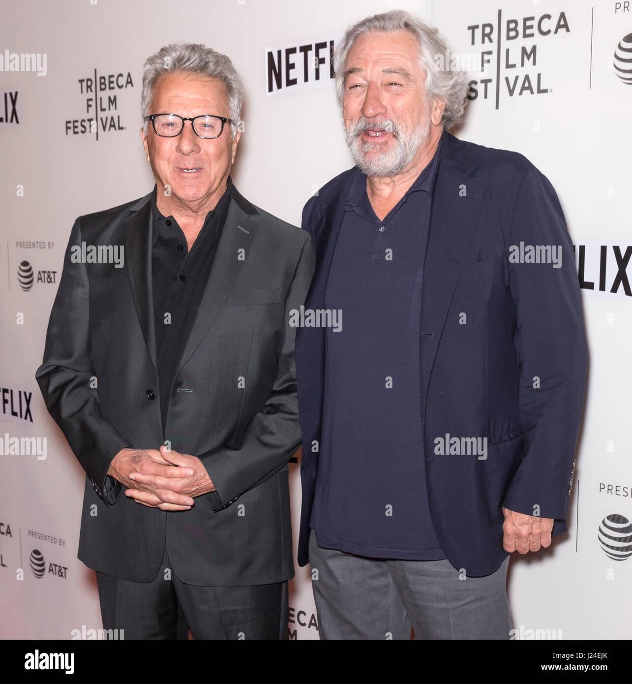 New York, USA. 24th April, 2017. Actors Dustin Hoffman and Robert De Niro attend Tribeca Talks Director's Series - Stock-Bilder
