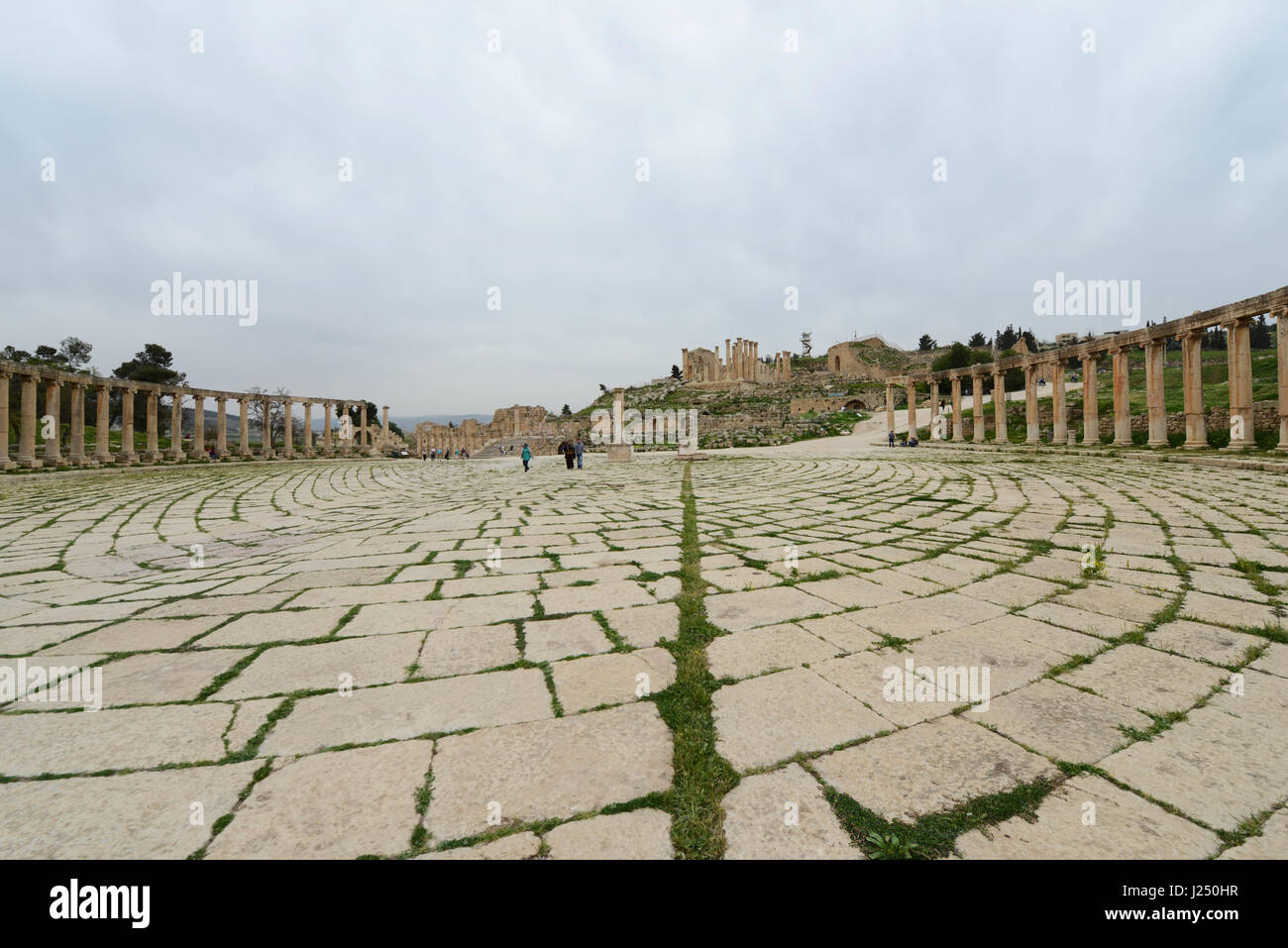 The Forum plaza in the ancient Roman city of Jerash in Jordan. - Stock Image
