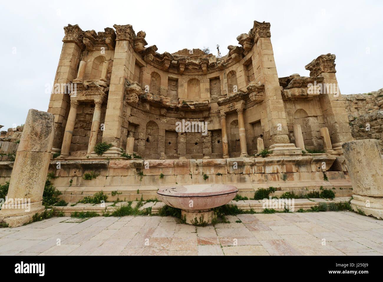 The Nymphaeum  ancient Roman city of Jerash in Jordan. - Stock Image