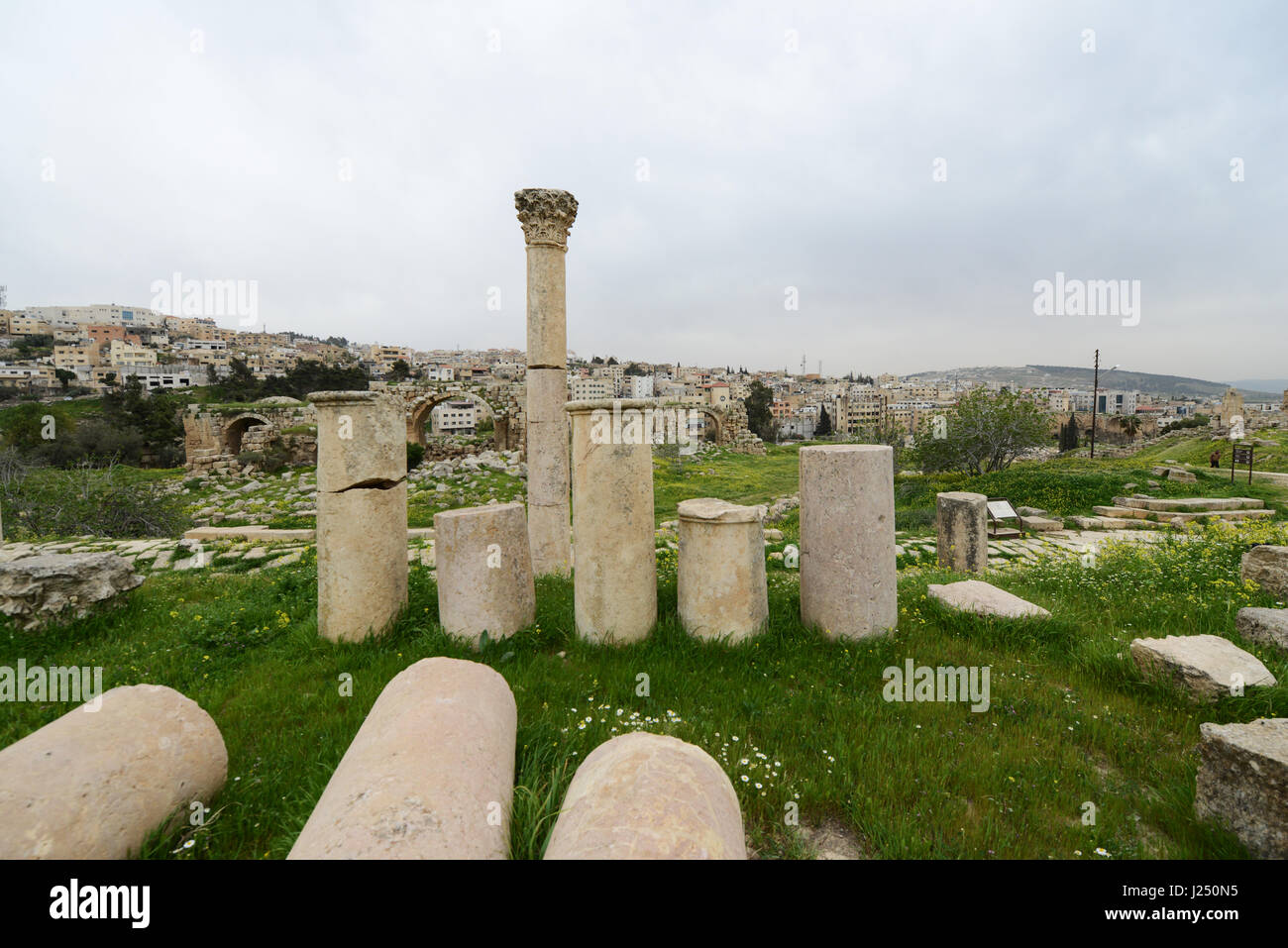ancient Roman columns in the ancient Roman city of Jerash in Jordan. - Stock Image