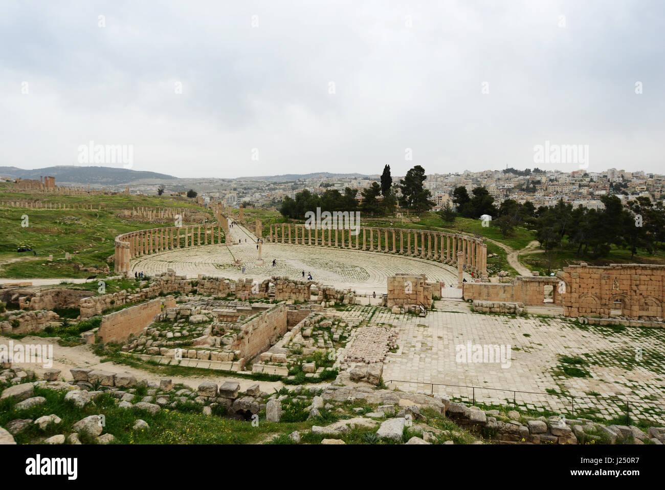 The Forum plaza in the ancient Roman city of Jerash in Jordan. - Stock Image