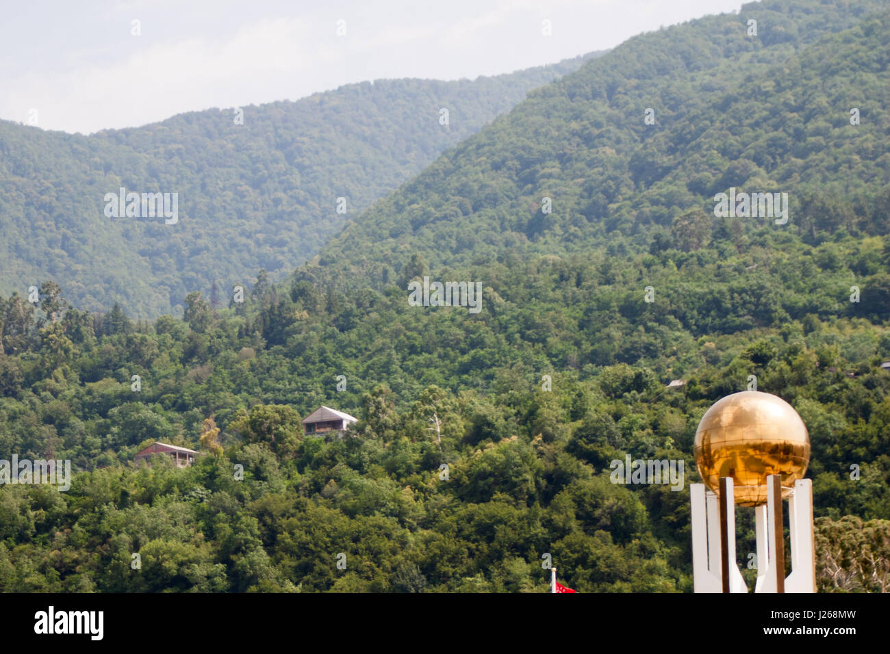 Mountain green coniferous forests and the sky with clean air in Abkhazia - Stock Image