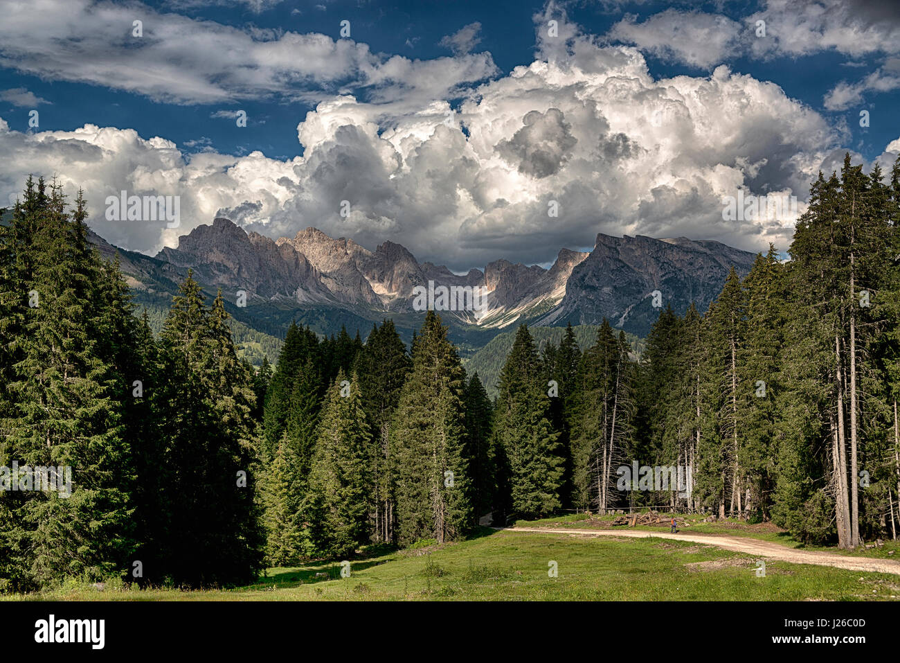Summer landscape in the italian alps with clouds over the Odle mountains, Dolomiti - Trentino-Alto Adige - Stock Image
