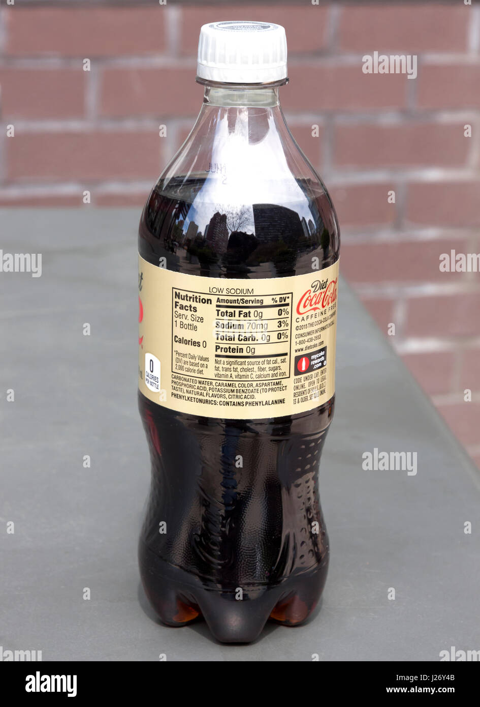 Diet Coke bottle ingredients which contains the controversial phenylalanine and aspartame. - Stock Image