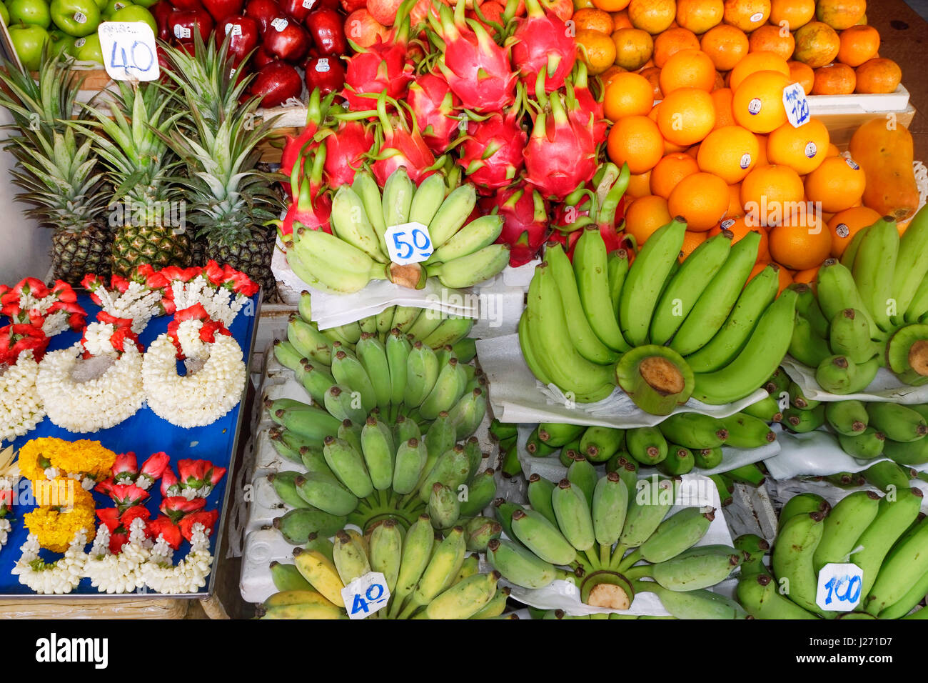 Tropical fruits in a market in Bangkok, Thailand - Stock Image