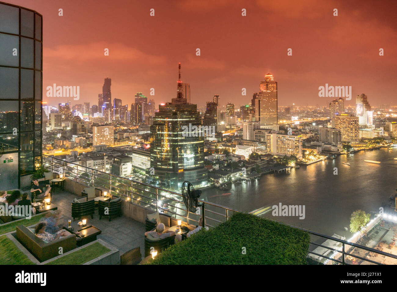 Millenium Hilton, 360 Rooftop Bar, skyline view point, Chao Praya River, CAT Telecom tower, State Lebua Tower,  - Stock Image