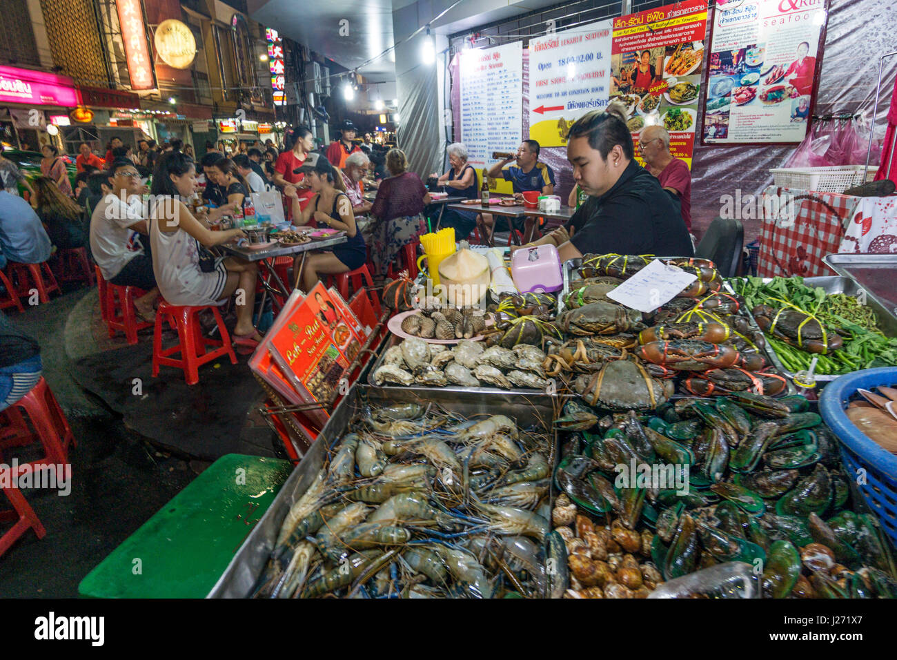 Chinatown, night market, Sea Food Restaurant, street food, Bangkok, Thailand - Stock Image