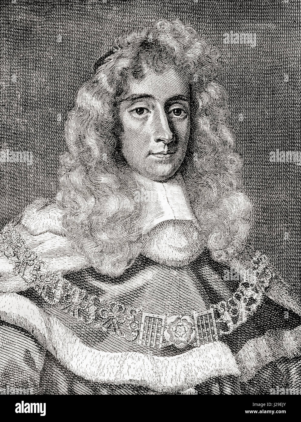 George Jeffreys, 1st Baron Jeffreys of Wem, 1645 – 1689, aka The Hanging Judge.  Welsh judge and Lord Chief Justice - Stock Image