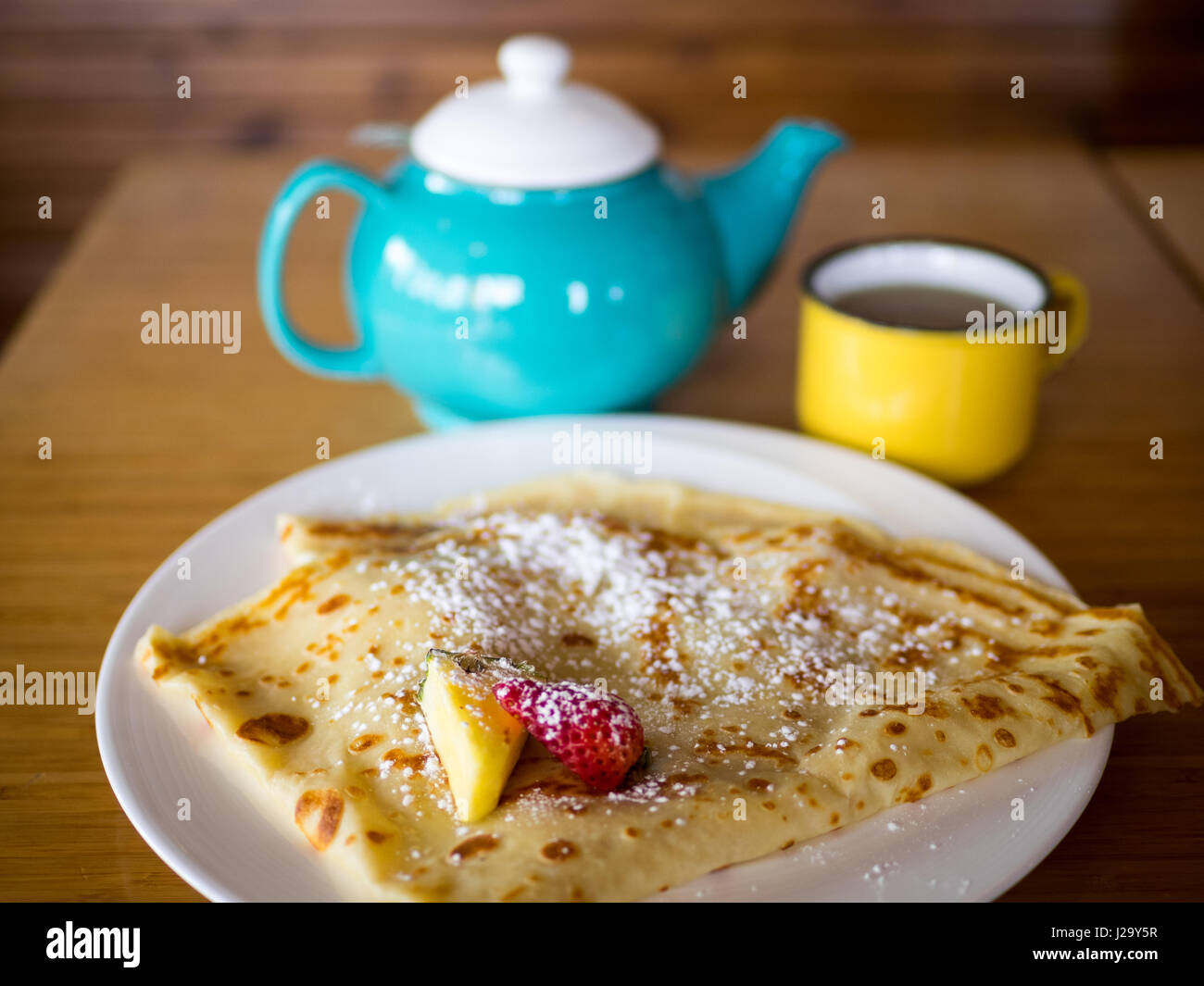 Nutella crepes and peppermint tea from the Drift Sidewalk Café and Vista Lounge in Saskatoon, Saskatchewan, - Stock Image