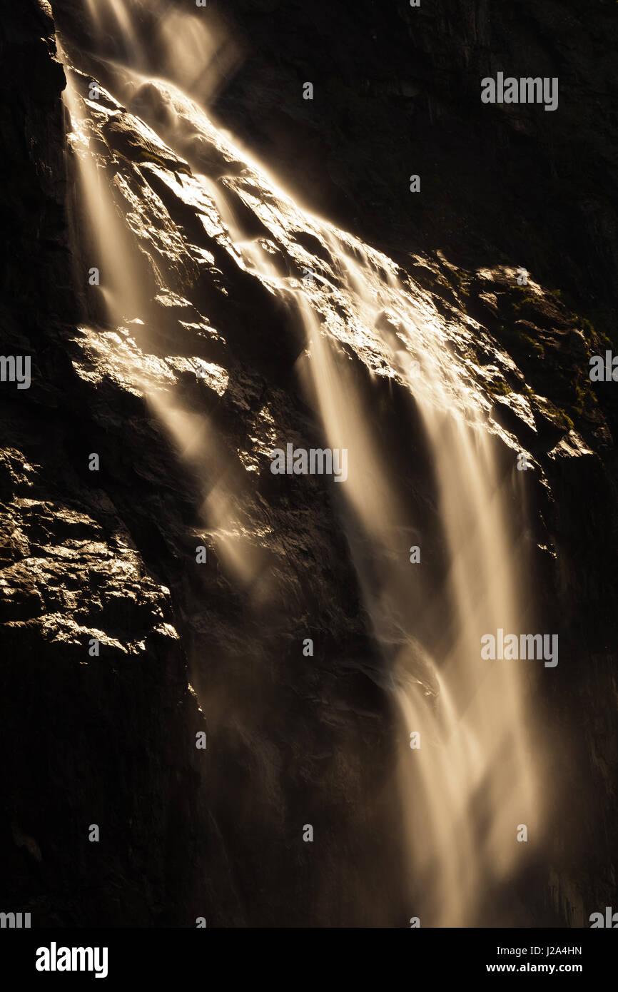 Gravdefossen waterfalls, Rauma kommune, Møre og Romsdal, Norway. - Stock-Bilder