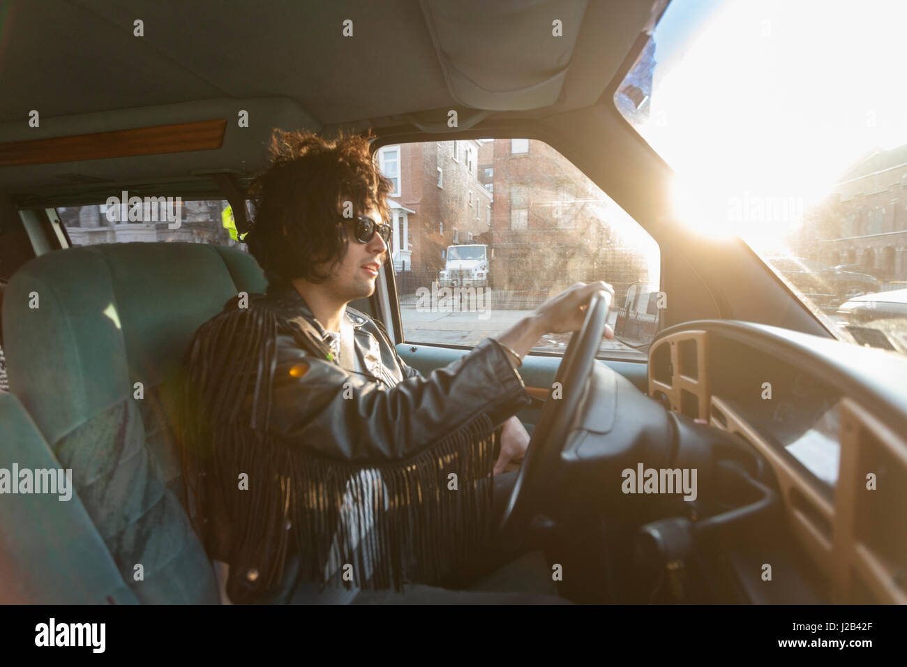 Young man driving - Stock Image