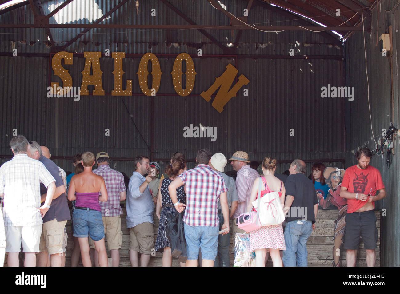 The bar at the Maverick music festival - Stock Image