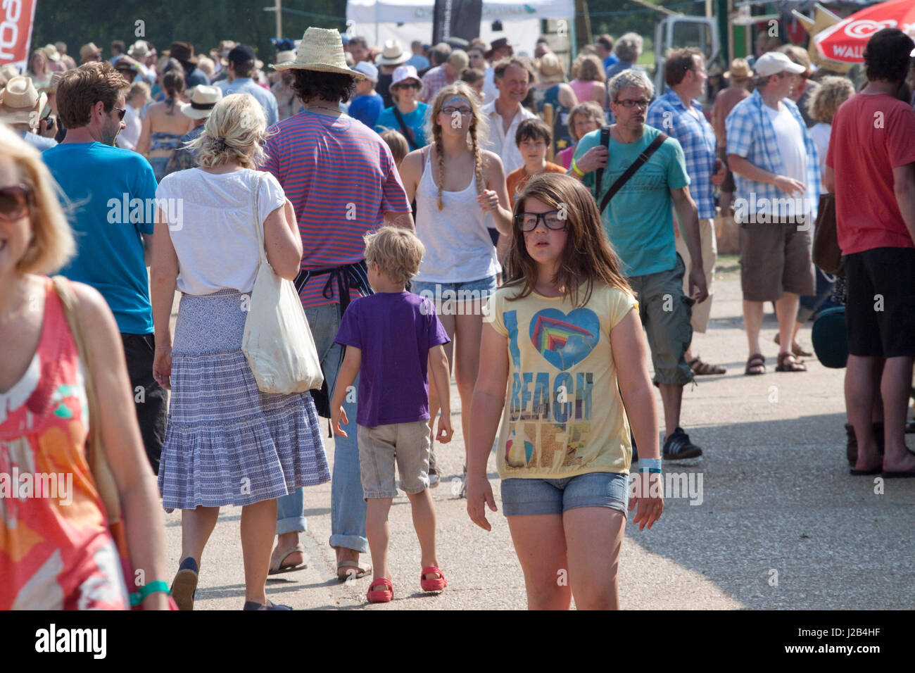 Crowds in the sun at the Maverick music festival - Stock Image