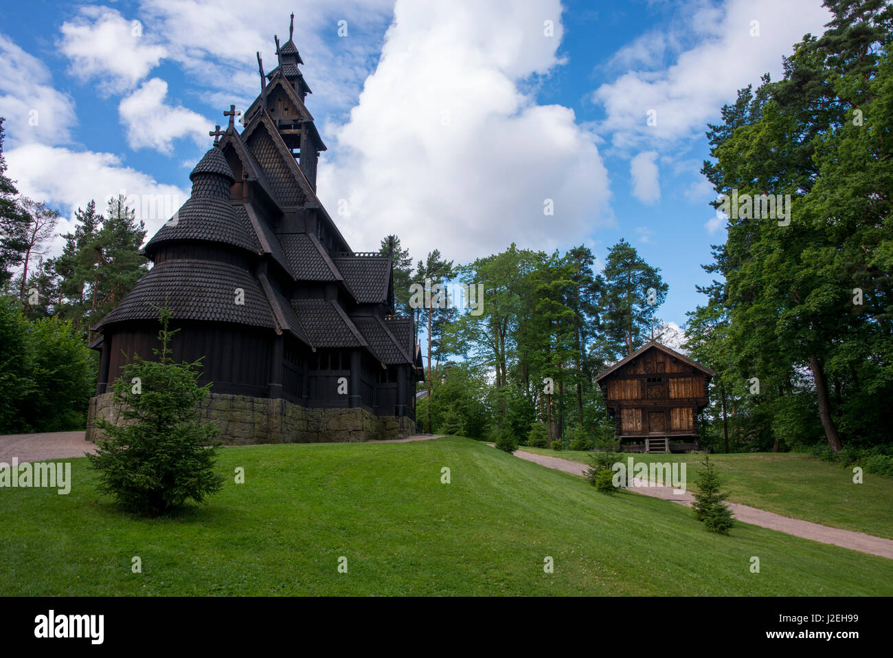 Norway, Oslo, Norsk Folk Museum (aka Norsk Folkemuseum). Historic wooden Stave Church from Gol, c.1200. (Large format - Stock Image