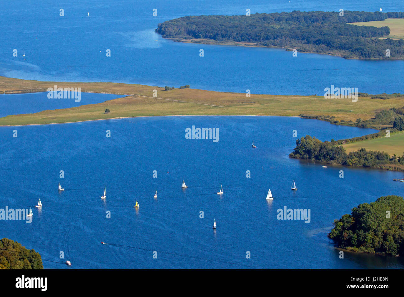 Sailing boats on lake Müritz, Mecklenburg-Western Pomerania, Germany - Stock Image