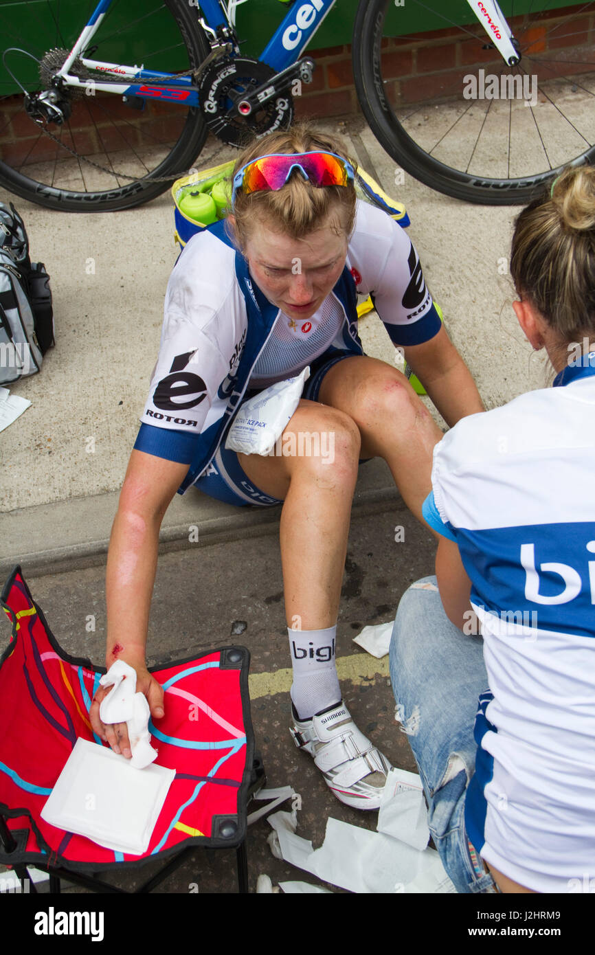 After a stage of the 2015 women's Tour of Britain - Stock Image