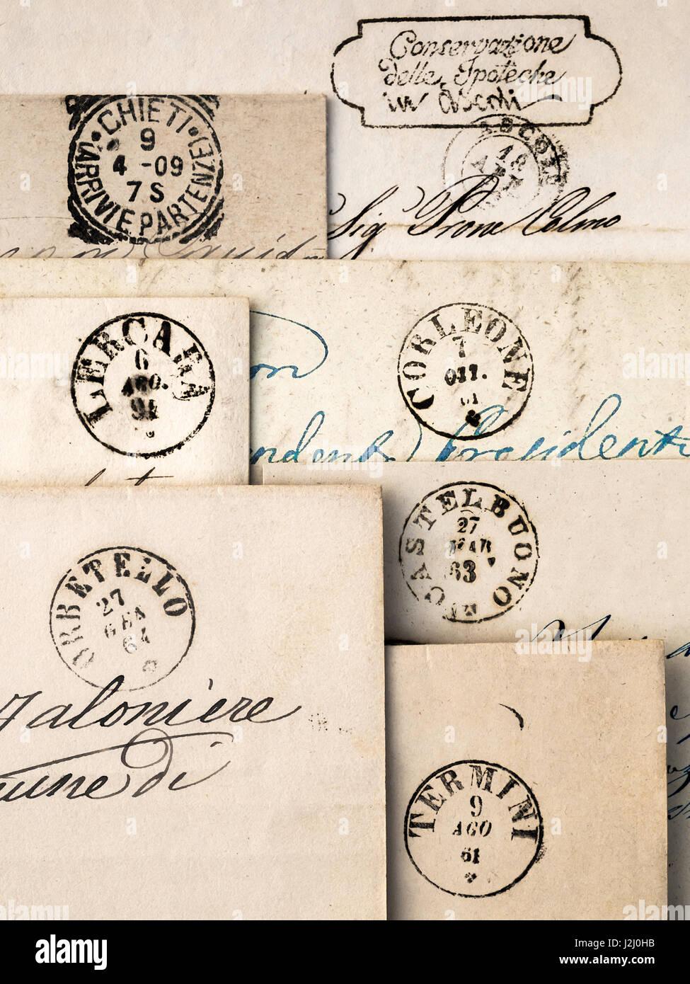 Early 19th century hand-written Italian envelopes. - Stock Image