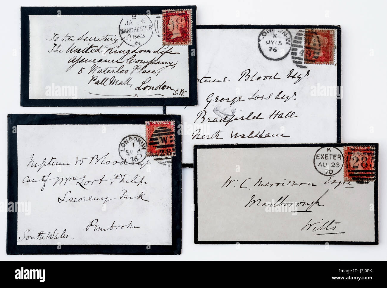 Hand-written mourning envelopes with Queen Victoria 1d red stamps. - Stock Image