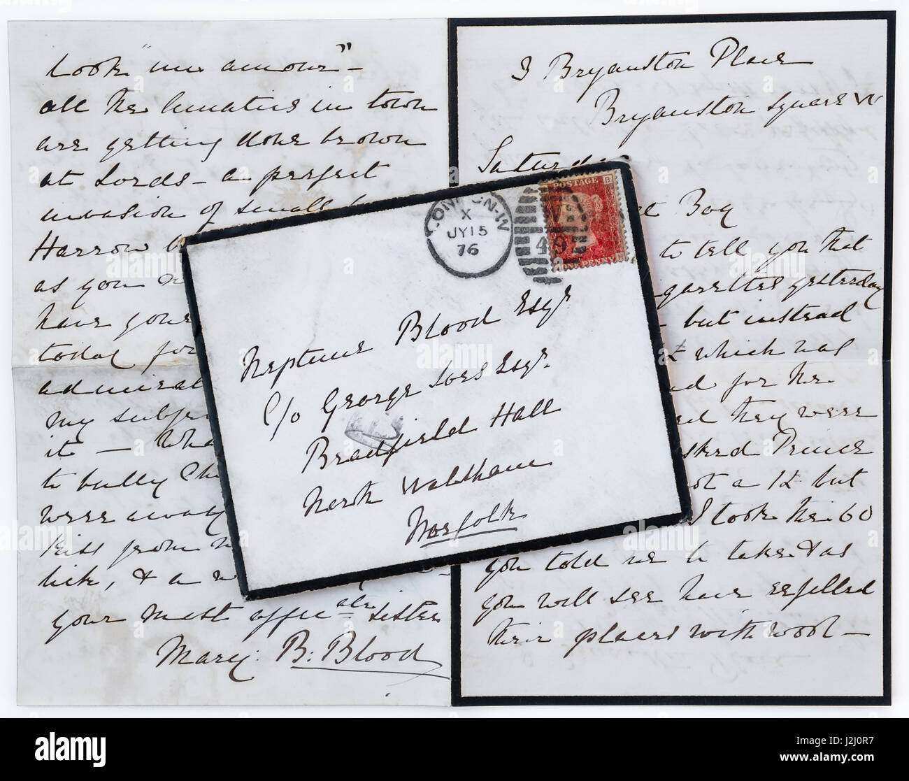 Mourning envelope and enclosed letter with Manchester postmark on Queen Victoria 1d red stamp. - Stock Image