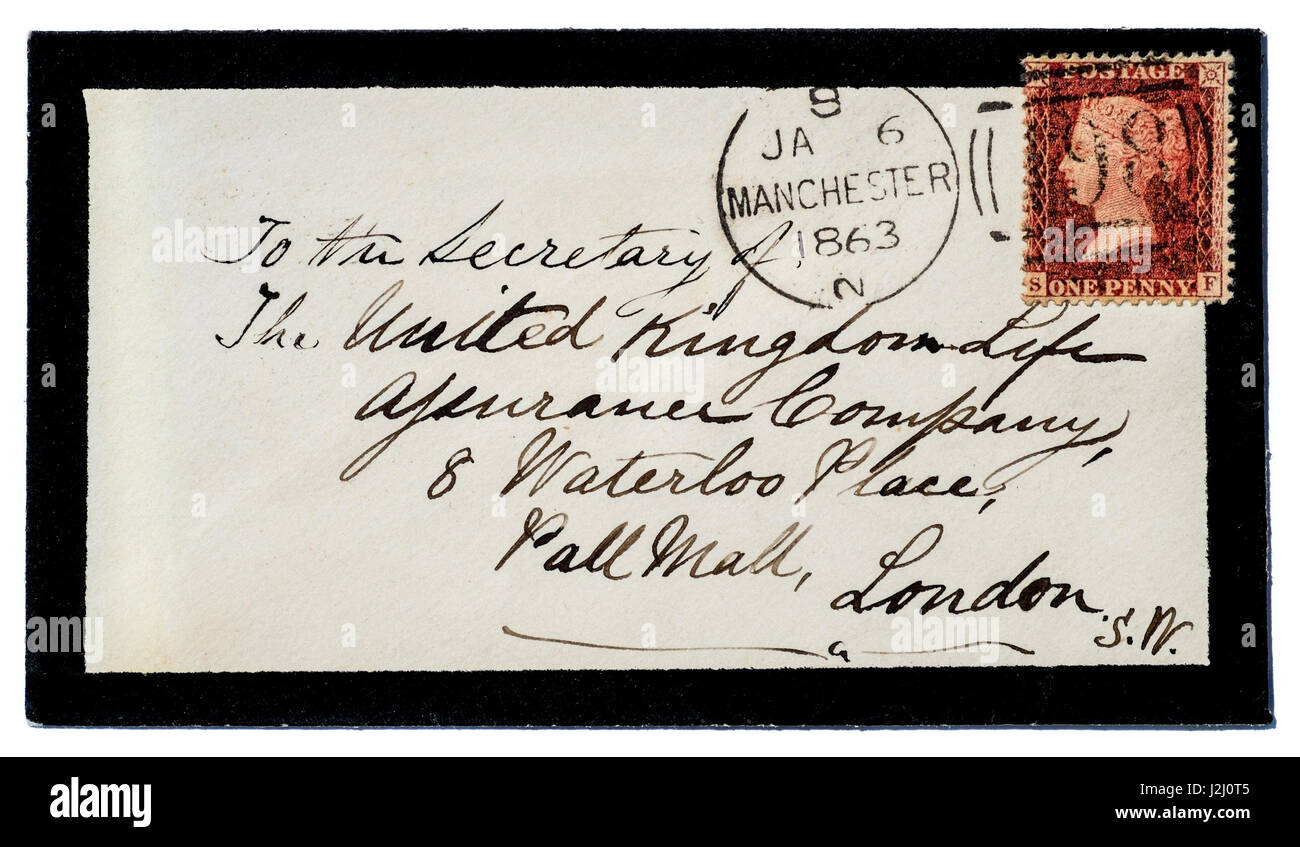 Mourning envelope with Manchester postmark on Queen Victoria 1d red stamp. - Stock Image