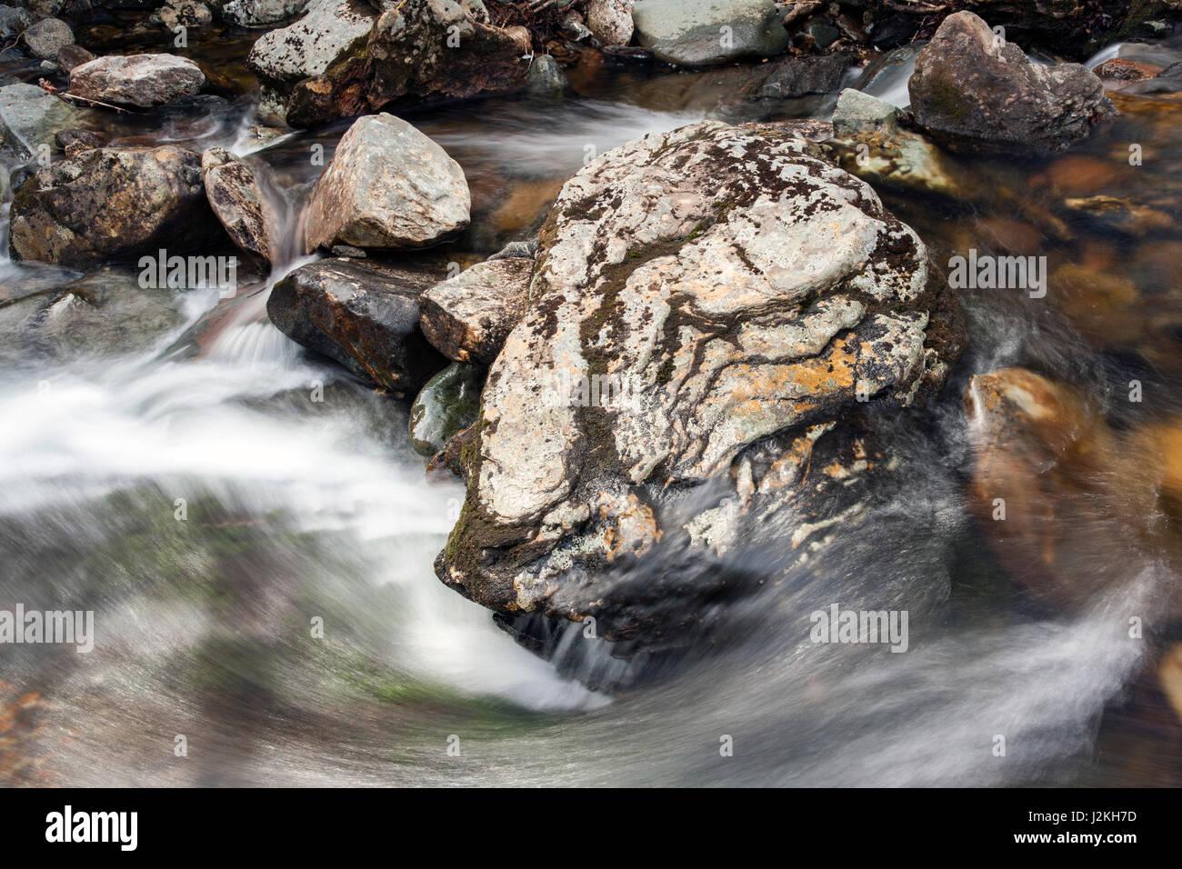 Waterfall cascade off Highway 215 - Pisgah National Forest, near Brevard, North Carolina, USA - Stock Image