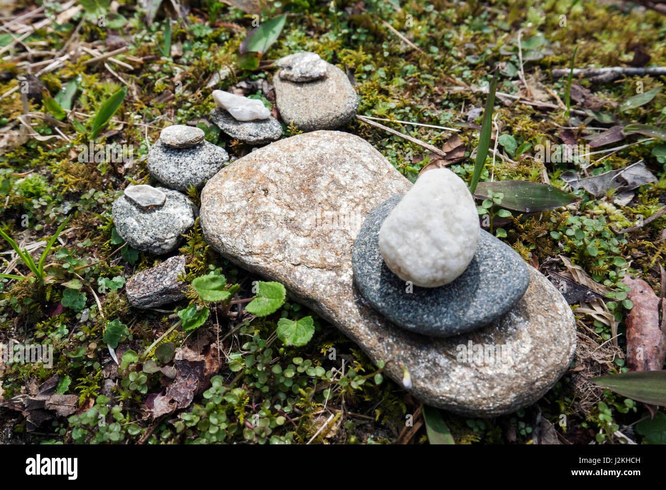 Stone Foot Rock Art - Pisgah National Forest, near Brevard, North Carolina, USA - Stock Image