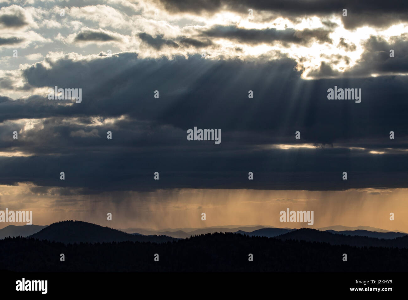 Sunset from Art Loeb Trail near Black Balsam Knob - Blue Ridge Parkway, North Carolina, USA - Stock Image