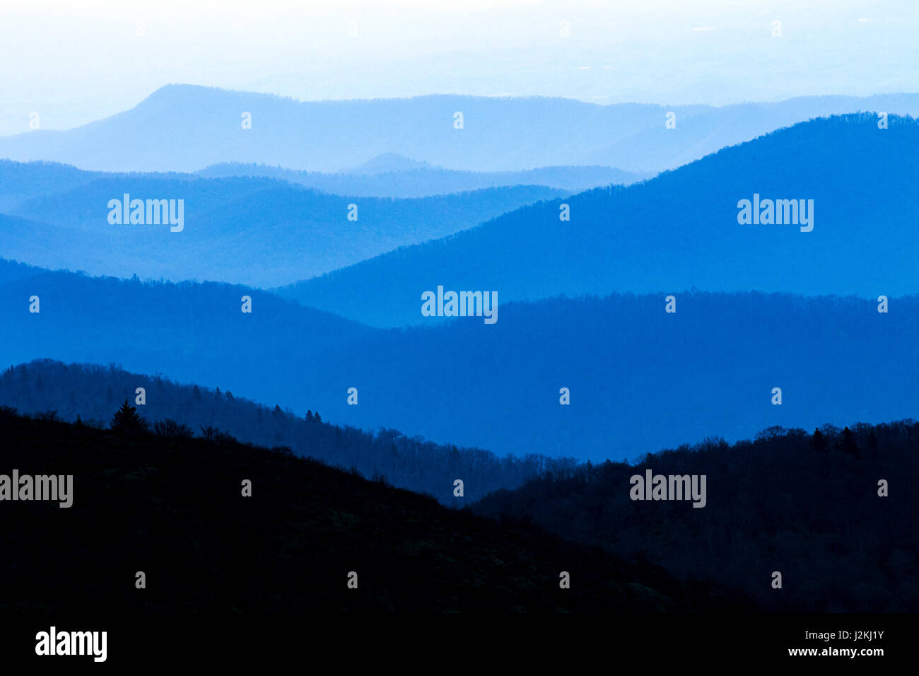 Hazy views of Blue Ridge Mountains from Art Loeb Trail near Black Balsam Knob - Blue Ridge Parkway, North Carolina, - Stock Image