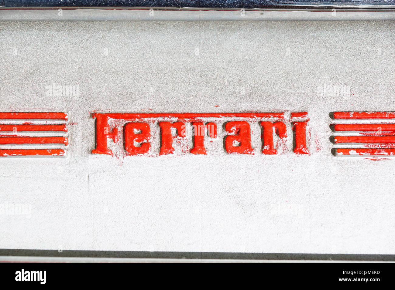 MODENA, ITALY - JULY 09: Logo Ferrari on motor of sport carat Exhibition of Ferrari cars on July 09, 2008 in Modena, - Stock Image