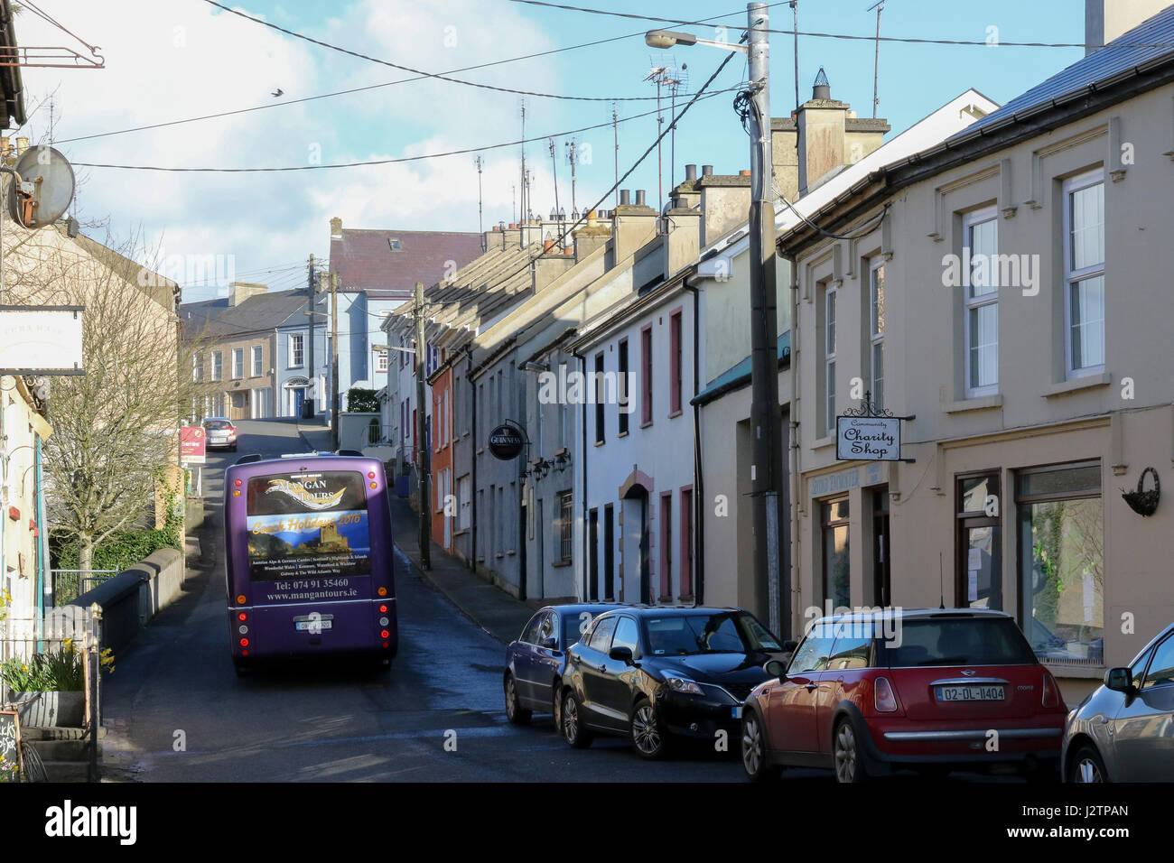 Bridge Street and The Mall in Ramelton, County Donegal, Ireland. - Stock Image