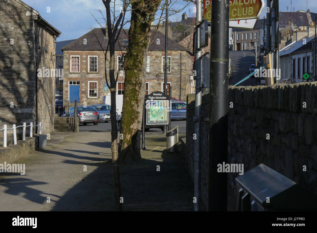 Visitor information sign in Ramelton, County Donegal, Ireland. - Stock Image