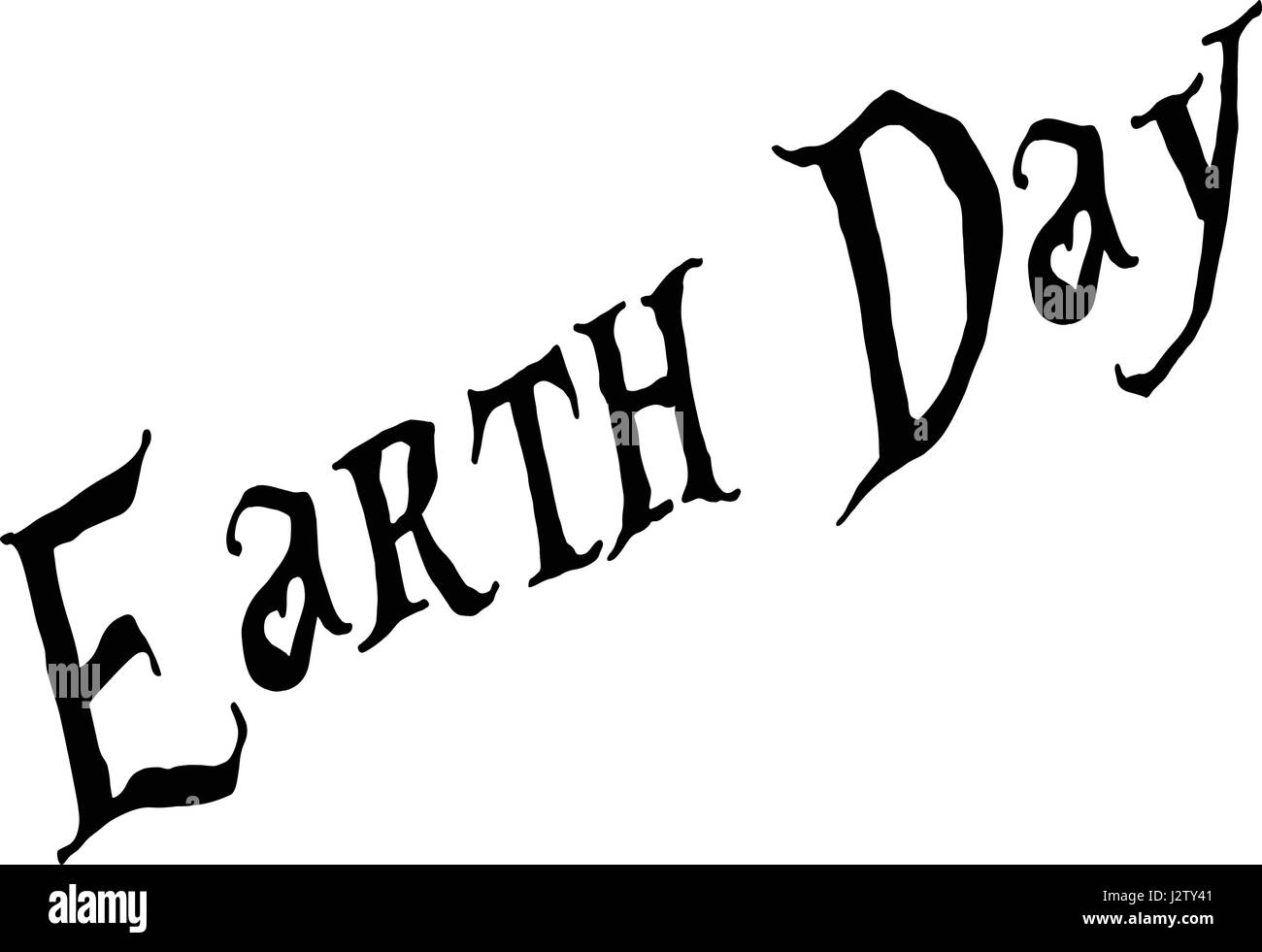 Eart day text sign illustration on white back ground - Stock Image