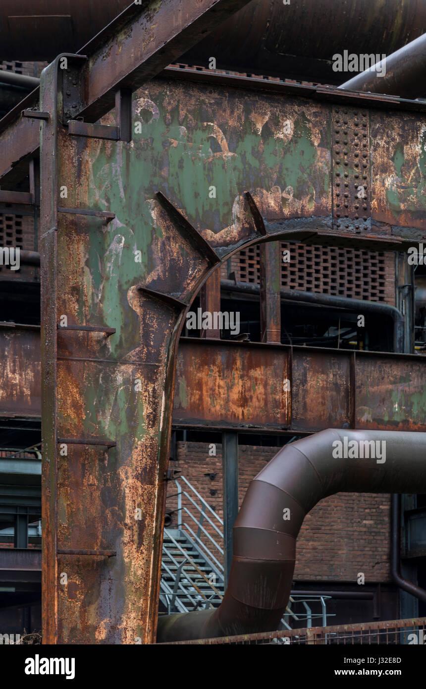 Former steel works in Duisburg, near Dusseldorf, Germany. Today a 'Lanschaftspark'- Landscape park, industrial - Stock Image